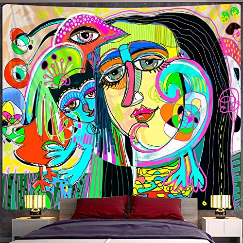 PPOU Boceto Abstracto Tapiz Personaje Tapiz de Pared Estilo Boho decoración del hogar Hippie Fondo Tela Manta Tela Colgante A4 150x200cm