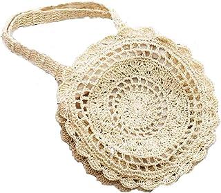 Bohemian Straw Bags for Women Circle Beach Handbags Summer Rattan Shoulder Bags Handmade Knitted Travel Big Totes Bag,White,S