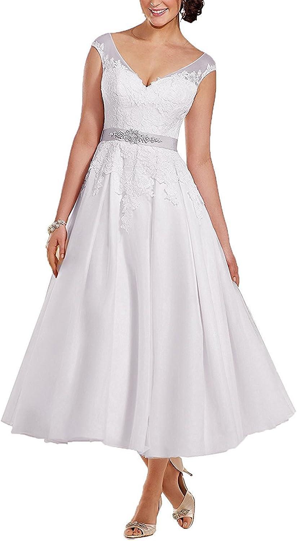 DressyMe Women's Grace Ivory Wedding Dresses for Bride TeaLength VNeck Lace