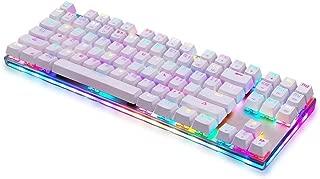ゲーミングキーボード キーボード87キー 有線 キーボード RGBバックライト 赤軸 持ち運び便利 人間工学デザイン 1年間品質保証 (ホワイト-HZ)
