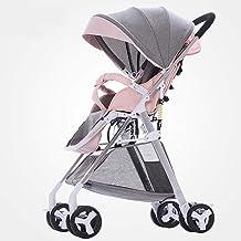 Abwy Sillas de paseo plegables y ligeras con capacidad de carga 25Kg Cochecito de bebé de aleación de aluminio firme High Landscape con protector solar ajustable Cochecito de bebé Rotación universal d