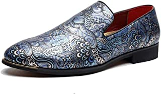 PengCheng Pang Men's Fashion Oxford Casual Pointed Print Personality of Chinese Style Formal Shoes (Color : Blue, Size : 6 UK)