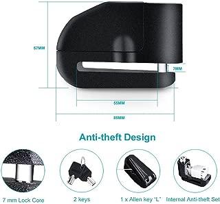 DishyKooker Black Alarm Disc Lock Alarm Padlock with 100-120db Alarm Sound for Motorcycles Bicycles