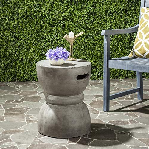 Safavieh Outdoor Collection Haruki Modern Concrete Dark Grey Round 17.7-inch Accent Table