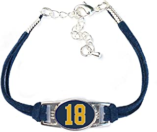 Number Charm Bracelet (00-99) Jersey Style in Team Colors (Navy Blue & Gold)