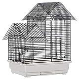 Pawhut Gabbia per Uccelli in Metallo con Maniglia, Vassoio Estraibile, Pioli e Altalena in Plastica, 39x34x47cm