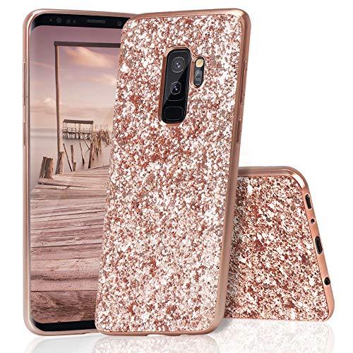 HUDDU Samsung Galaxy S9 Hülle Glitzer Samsung S9 Handyhülle Bling Glitter Case Hart PC Bumper Hard Back Cover Abdeckung Sparkles Luxus Schutzhülle für Samsung Galaxy S9 Rosegold