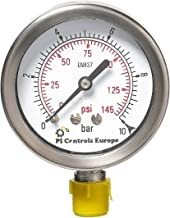 PI Controls UK Pressure Gauge, PG-63-R10-WF-BR
