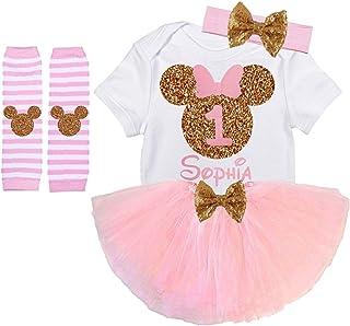 a4424a8298924 Girls Minnie First Birthday Outfit Handmade Light Pink Gold