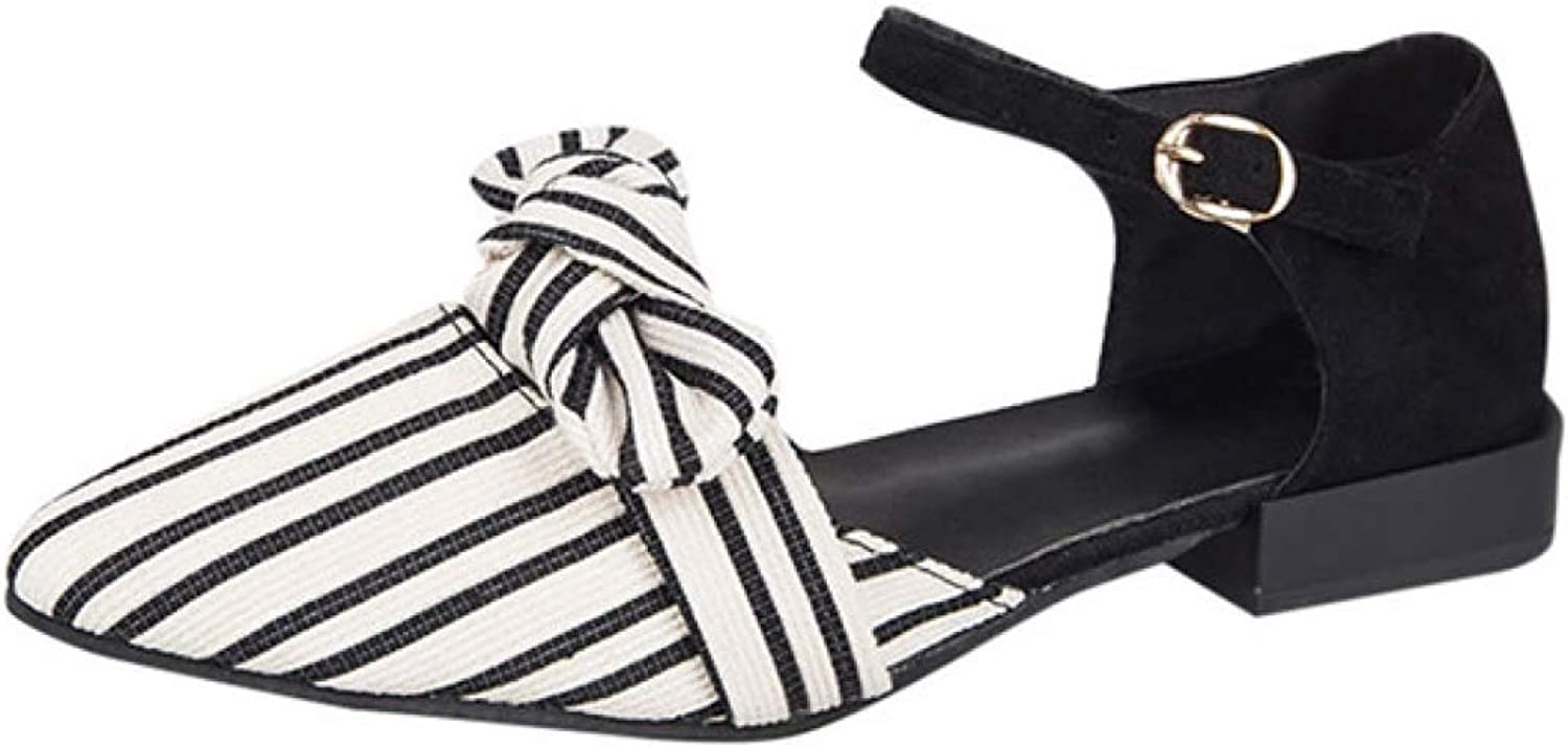 T-JULY Ladies Sandals Women Pointed Toe Stripe shoes Shallow Square Heel Buckle Strap Casual Sandalias