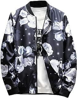 TOPUNDER Retro Printed Zipper Jacket Men's Winter Stand Collar Coat Outwear Overcoat