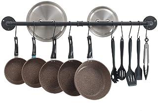 ZRZJBX Colgador Utensilios Cocina Barra con Colgador De Acero,Inoxidable Ganchos para Colgar Olla SartéN Cuchillo,Estante De Cocina con Gancho,Black-60×12cm/23.6×4.7in