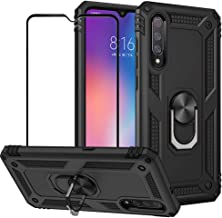 BestShare for Xiaomi Mi 9 SE Case & Tempered Glass Screen Protector, Rugged Hybrid Armor Anti-Scratch Shockproof Kickstand Cover & Magnetic Car Mount Ring Grip, Black