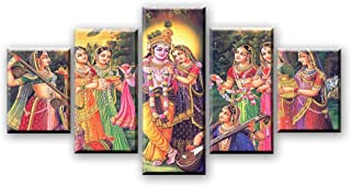 HAFZY Canvas Print Wall Art 5 Panel Hd Painting Picture Stick On The Wall India Myth Lord Krishna Painting Vishnu Home Decor Large Decorative Painting Living Room Bedroom Framed 60