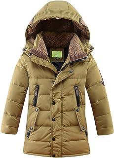Big Boys' Mid-Long Winter Padded Jacket Cotton Hooded Parka Outwear Coat