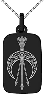 Tioneer Stainless Steel Artemis Greek Goddess of Moon Symbol Small Rectangle Dog Tag Charm Pendant Necklace