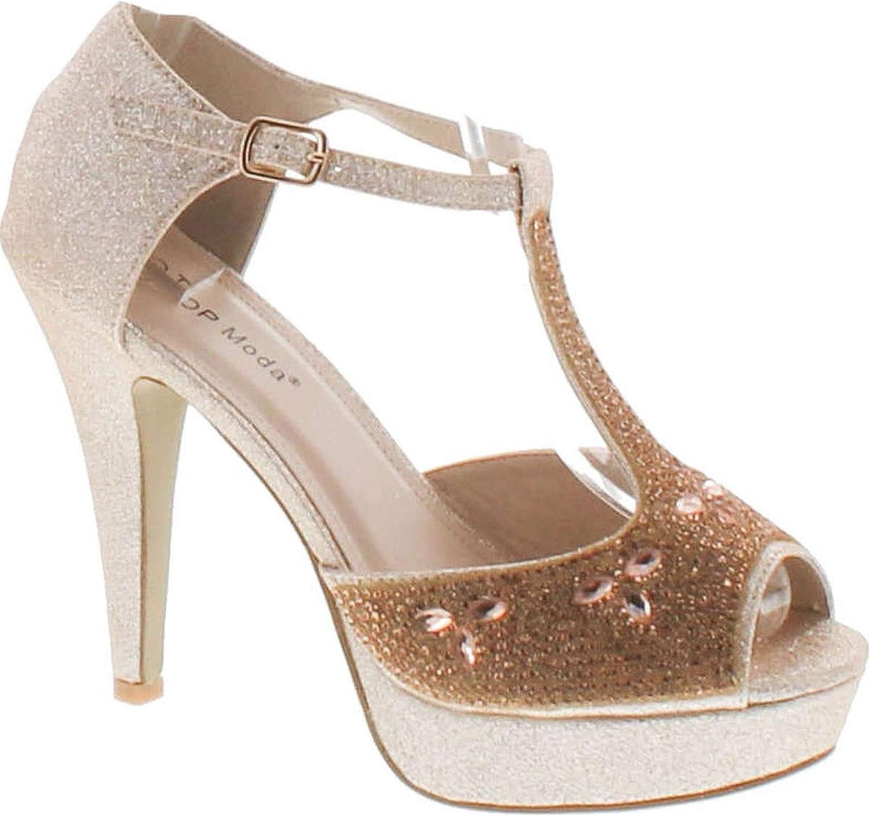 Top Moda Womens Caviar-1 Bridal Formal Evening Party Ankle Strap High Heel Peep Toe Glitter Sandal