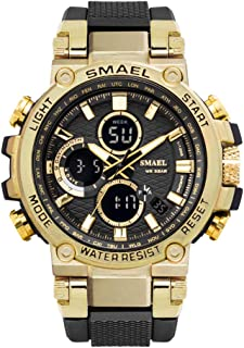 eYotto Men Sports Watch Large Dial Military Analog Digital Watches Waterproof Outdoor Tactical Dual Display Wrist Watch for Mens