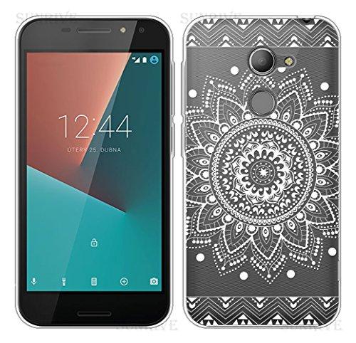 Sunrive Für Vodafone Smart N8 Hülle Silikon, Transparent Handyhülle Schutzhülle Etui Case Backcover für Vodafone Smart N8(TPU Blume Weiße)+Gratis Universal Eingabestift