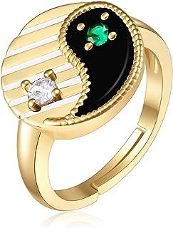 Yinyang Gold Ring forMenWomen, Yinyang crystal forWomenGirlandMen,Gold Plated RingandIced OutJewelryGift