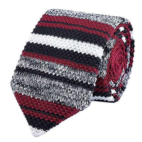 Men Red Grey Tweed Knit Silk Neck Ties Striped Ugly Sweater Smart Soft Neckties