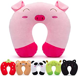 H HOMEWINS Travell Pillow for Kids Toddlers - Soft Neck Head Chin Support Pillow, Cute Animal, Comfortable in Any Sitting Position for Airplane, Car, Train, Machine Washable, Children gift (Pig)