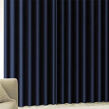 [カーテンくれない] 厚手生地で【しっかり遮光】 完全遮光生地使用の1級遮光カーテン 遮音 防音効果で生活音を軽減 高い断熱効果 冷暖房効率アップ!「CALM」 サイズ:(幅)100×(丈)200cm 2枚組 色:ネイビー