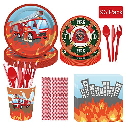 DreamJing 93PCS Geburtstagsgeschirr für Jungen Feuerwehrauto mit manueller Wasserspritze, Pappgeschirr-Riesen Feuerwehr/Firetruck Party-Set einschließlich Teller,Becher,Servietten,Stroh