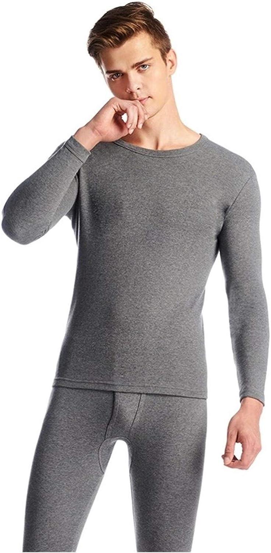 QWERBAM Cotton Winter Men's O-Neck Warm Set Ultra-Soft Thermal Underwear Undershirt Pants Pajama (Color : Black, Size : XX-Large)