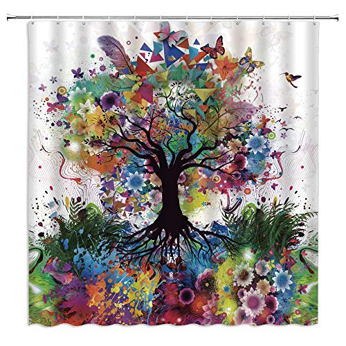 Jingjiji Colourful Tree Shower Curtain Color Bursting Tree...