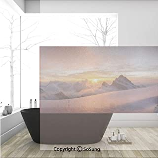 3D Decorative Privacy Window Films,Sunrise in Swiss Alps with Magical View of Mountain Natural Paradise,No-Glue Self Static Cling Glass Film for Home Bedroom Bathroom Kitchen Office 36x24 Inch
