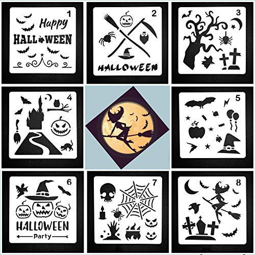 Lirener 8 Stück Zeichenschablonen Halloween Schablone Kunststoff Zeichnung, Perfekt für Planer/Notebook / Tagebuch/Scrapbook / Graffiti/Karte, DIY Zeichnung Malerei Handwerk, 13x13cm