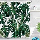 LB 150x180cm Duschvorhang Dunkel Grün Monstera Blätter Wasserdicht Anti Schimmel Weiß Polyester Badezimmer Gardinen mit 10 Haken,Tropisch Dschungel Pflanze