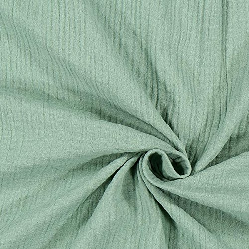 Fabulous Fabrics Musselin lindgrün, Uni, 130cm breit – Musselin zum Nähen von Kinderbekleidung, Babybekleidung und Blusen – Meterware erhältlich ab 0,5 m