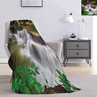 Luoiaax Nature Plush Blanket for Bed Couch Tropical Paradise Waterfall in Thailand Surreal Cascade Wonders of The World Scenery All Season Premium Fluffy Blanket W60 x L91 Inch Multicolor