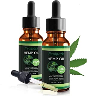 (2 Pack) Hemp Oil 1000mg for Pain Relief Anxiety - 100% Natural Organic Hemp Seed Extract for Joint, Stress, Mood & Sleep Support - Zero THC CBD Cannabidiol - Pure Hemp Oil Drops