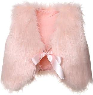 Baby Girl Faux Fur Sleeveless Slim Vest Coat Tops Jacket Autumn Winter Solid Colour