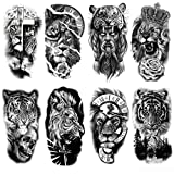 Oottati 8 Sheets Forest Lion Jesus Tiger Cross Skull Rose Crown Old School Arm Leg Temporary Tattoo