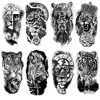 Oottati 8 Sheets Forest Lion Jesus Tiger Cross Skull Rose Crown Old School Arm Leg Temporary Tattoo