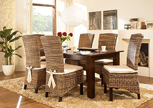 Massivum Esstisch 150x90 + 4 Fineline Stühle Nico kolonial, Holz, braun, 90 x 150 x 75 cm