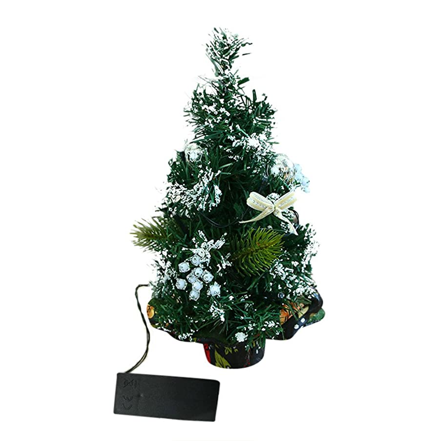 NISWDE Mini Desktop Artifical Christmas Tree with LED Lights Snowflake Ball Ornaments for Table Decoration LED Glow Tree Bedroom Desk Decoration Gift