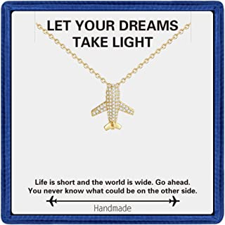 Gifts for Women Gold Necklace - Dainty White Gold Plated Airplane, Owl Necklaces for Teen Girls Butterfly, Shell Necklace, Pendant Necklace for Women Teacher Gifts Bridesmaid Gifts