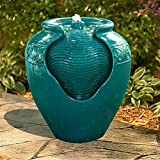 Peaktop YG0037A-UK Outdoor & Indoor Glazed Pot Floor Water Fountain with LED Light, Blue, 43.18 cm x 38.99 x 38.99