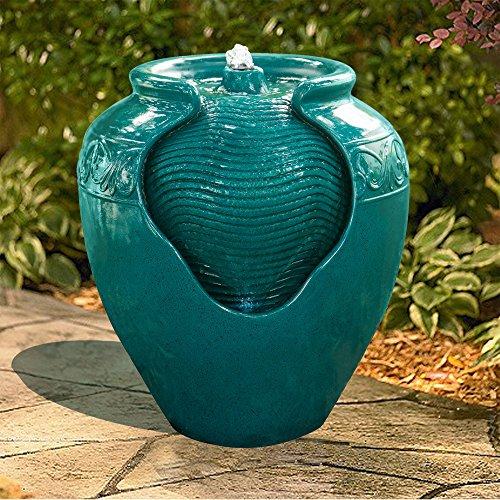 Peaktop Wasserbrunnen Indoor Wintergarten Garten Blaugrün Mit Lichtern YG0037AZ-EU