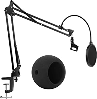 InnoGear Adjustable Microphone Suspension Boom Scissor Arm Stand with Microphone Windscreen and Dual Layered Mic Pop Filter for Blue Snowball ICE and Blue Snowball, Max Load 1.5 KG