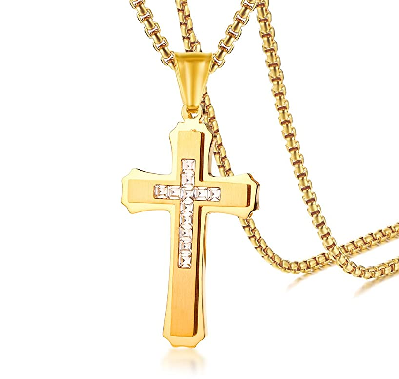 YIKOXI Gold Silver Stainless Steel Cross Zircon Pendant Chain Necklace for Men Women, 24 Inches