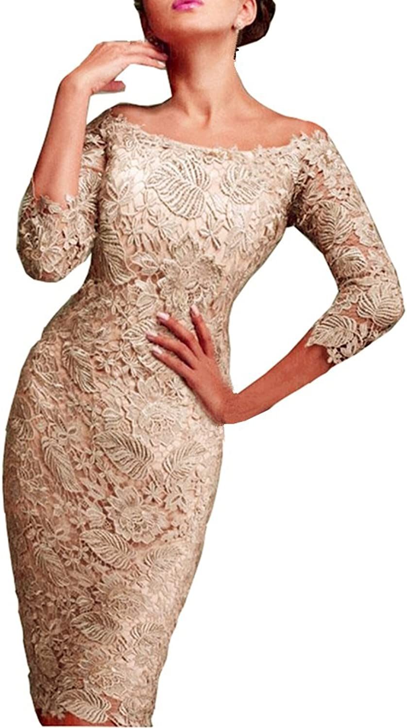 Snow Lotus Women's 7 Minutes of Sleeve and Knee Lace Bride's Mother Dresses
