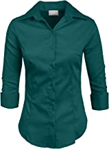 NE PEOPLE Womens Stretch 3/4 Sleeve Roll Up Button Down Shirt (S-6XL)