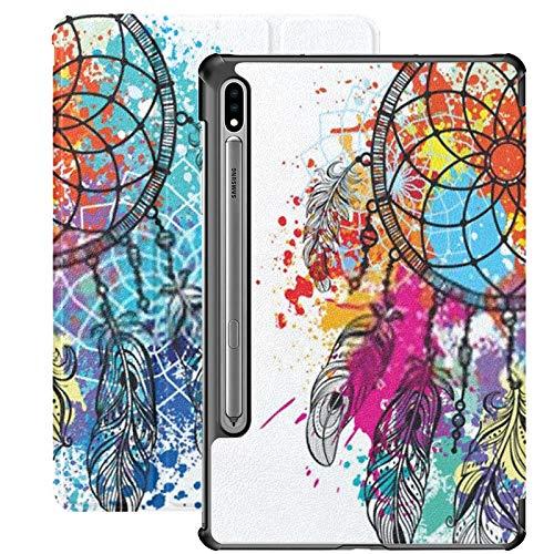 Smart Cover para Samsung Galaxy Tab S7 Plus 2020 Release 12.4 Pulgadas SM-T970 / T975 / T976 con portalápices, atrapasueños contra Fondo Colorido Splash