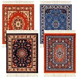 4 Pieces Rug Table Coasters Table Drink Holders Oriental Design Fabric Carpet Drink Mats Oriental Design Fabric Elegant Carpets Kitchen and Bar Mats for Home Office and More